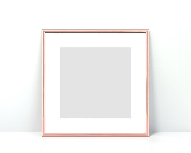 Moldura de ouro rosa. renderização em 3d.