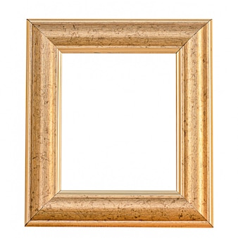 Moldura de ouro velho em parede branca