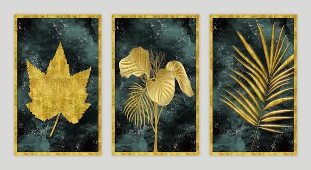 Moldura de parede, decoração de casa, folhas de árvore dourada 3d em fundo de pintura moderna