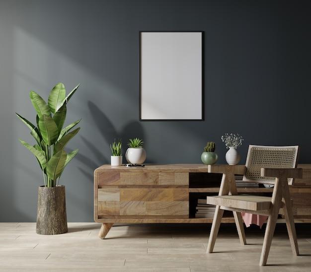 Moldura de pôster de maquete em design de interiores de sala de estar moderna com renderização em parede vazia escura.