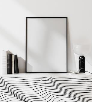 Moldura de pôster de maquete em um interior moderno branco brilhante com parede branca e decoração elegante, estilo minimalista escandinavo, renderização 3d