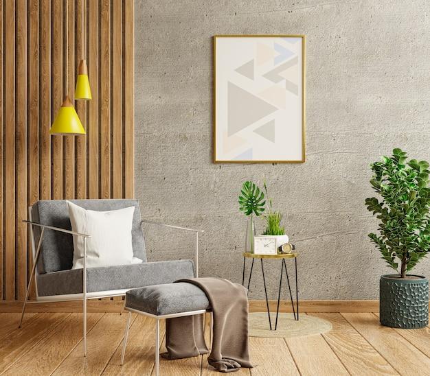 Moldura de pôster de maquete em uma sala de estar moderna com uma parede de concreto vazia. renderização 3d