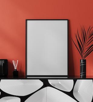 Moldura de pôster em branco em um interior moderno com parede vermelha e decoração elegante, moldura em interior luxuoso e contemporâneo, renderização em 3d
