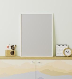 Moldura de pôster em branco, interior moderno em estilo de lugar de viajante, armário com impressão de montanhas, decoração, conceito de viagem, renderização em 3d