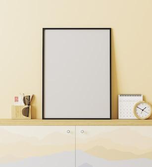 Moldura de pôster em branco no interior de estilo de lugar de viajante moderno com parede amarela, armário com impressão de montanhas, decoração, conceito de viagem, renderização em 3d