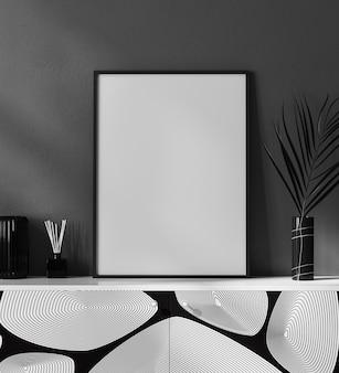 Moldura de pôster em branco no interior moderno preto e branco com decoração elegante, moldura em interior luxuoso e contemporâneo, renderização em 3d