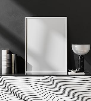 Moldura de pôster em branco simulada em um interior moderno com parede preta e decoração elegante, estilo luxuoso, renderização em 3d