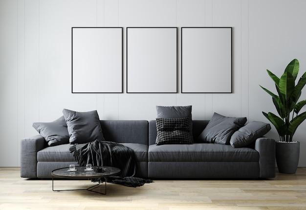 Moldura de pôster em branco simulada no interior da sala de estar em estilo escandinavo, fundo interior da sala de estar moderna