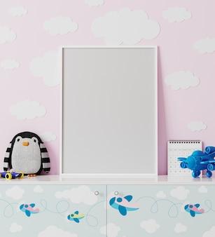 Moldura de pôster no quarto das crianças com parede rosa com nuvens, cômoda com estampas de aviões, brinquedo macio de pinguim, brinquedo avião, renderização em 3d