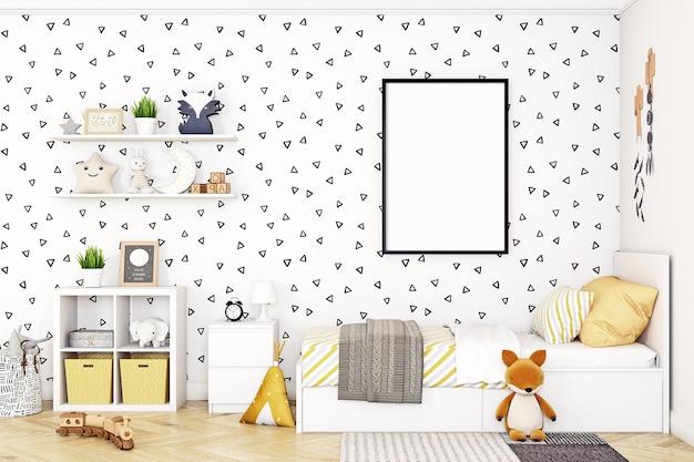 Moldura de pôster simulada em quarto infantil estilo escandinavo moldura preta a4