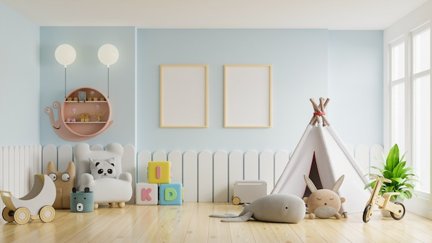 Moldura de pôster simulada em quarto infantil, quarto infantil, maquete de berçário, parede azul, renderização 3d