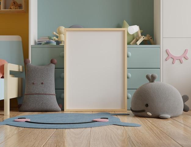 Moldura de pôster simulada em quarto infantil, quarto infantil, maquete de berçário