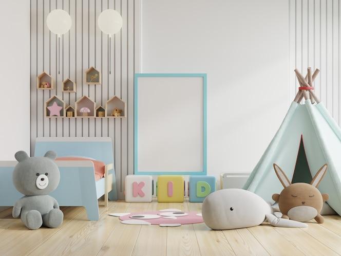 Moldura de pôster simulada em quarto infantil