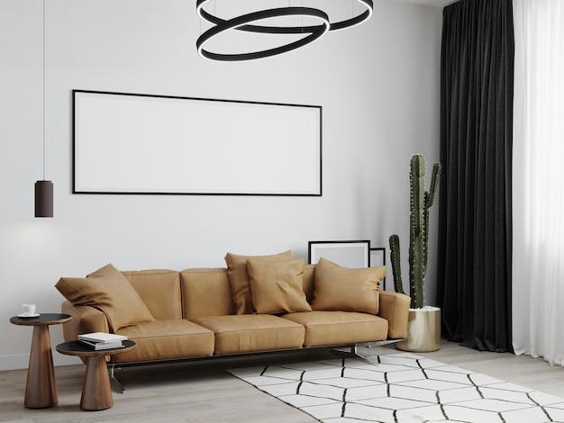 Moldura de pôster simulada em um fundo interior moderno, sala de estar, estilo escandinavo, renderização 3d, ilustração 3d