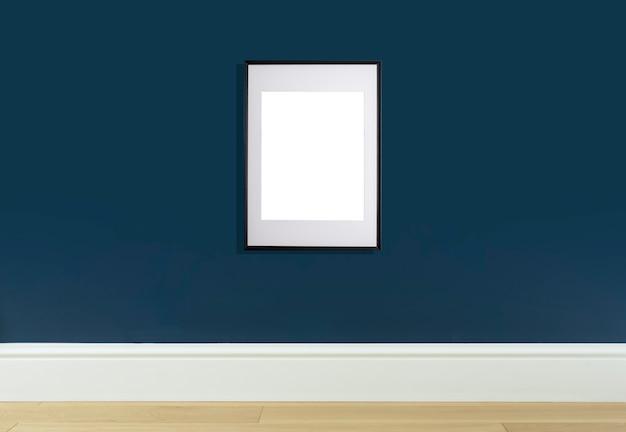 Moldura de pôster simulada na parede interior moldura branca para pôster ou imagem de foto na parede azul