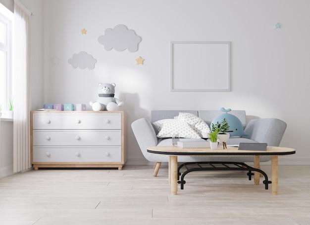 Moldura de pôster simulada na sala de estar Foto Premium