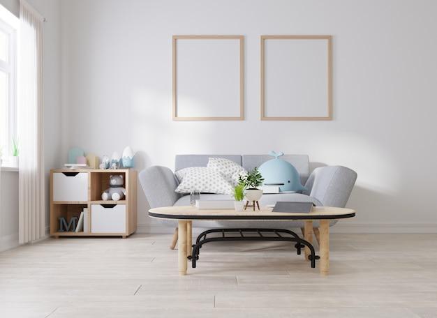 Moldura de pôster simulada na sala de estar
