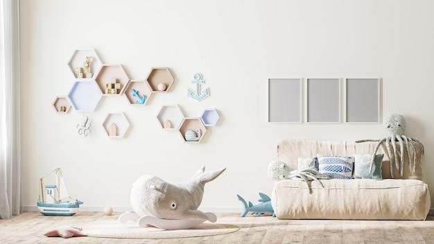 Moldura de pôster simulada no interior de um quarto infantil elegante em tons claros com renderização em 3d de brinquedos