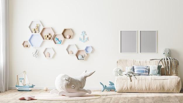 Moldura de pôster simulada no interior de um quarto infantil elegante em tons claros, renderização em 3d