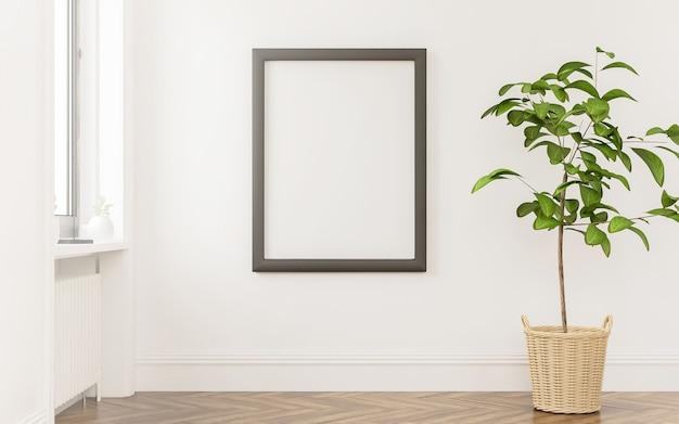 Moldura de pôster simulada querida janela com planta de renderização em 3d