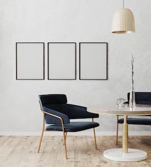 Moldura de pôster vertical preta simulada no interior moderno da sala de jantar com cadeiras luxuosas em azul escuro e mesa de mármore e ouro com piso de madeira e parede cinza, renderização em 3d