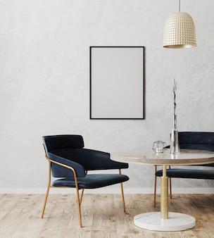 Moldura de pôster vertical preta simulada no interior moderno da sala de jantar com cadeiras luxuosas em azul escuro