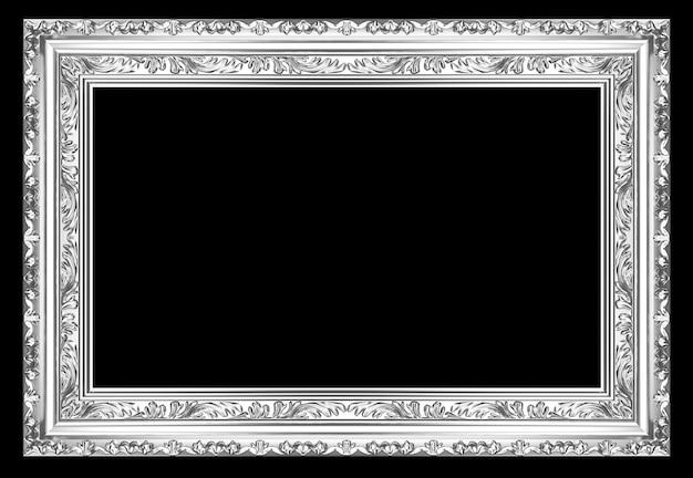 Moldura de prata antiga antiga sobre fundo preto