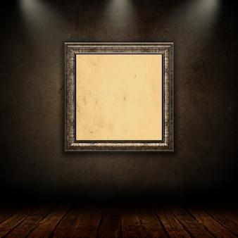 Moldura de retrato vintage em branco na sala de grunge com holofotes