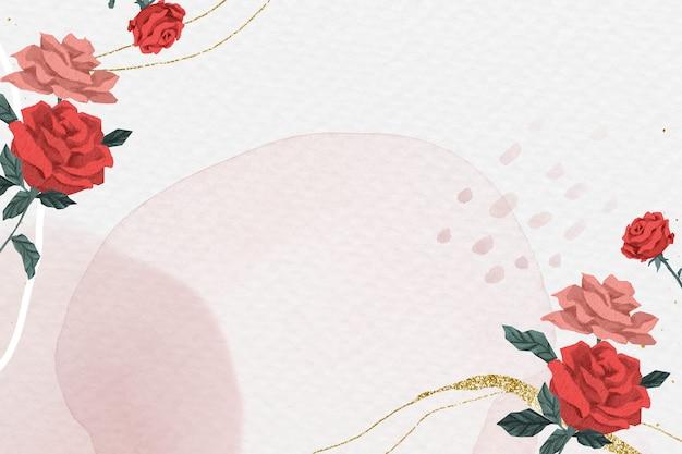Moldura de rosas românticas dos namorados com fundo aquarela