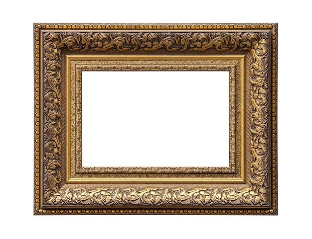 Moldura de tela de pintura dourada clássica isolada em branco
