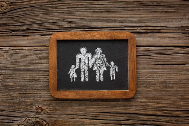 Moldura de vista superior com a família de corte de papel
