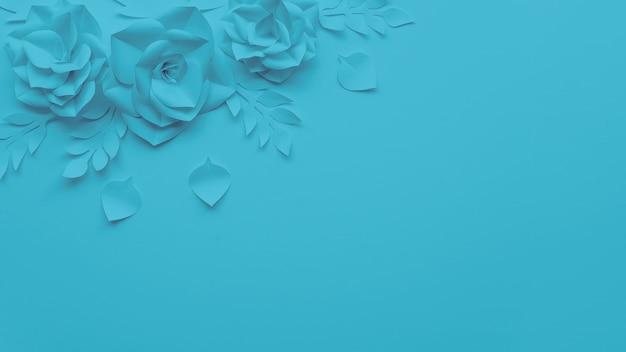 Moldura de vista superior com flores azuis e fundo
