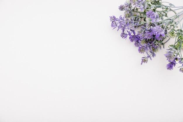 Moldura de vista superior com flores roxas e cópia-espaço