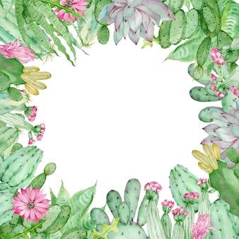 Moldura desenhada à mão em aquarela de cactos com flores