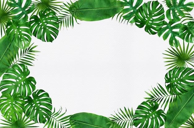 Moldura design folhas tropicais aquarela
