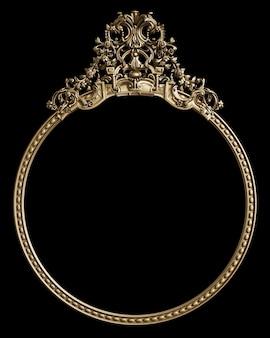 Moldura dourada clássica com decoração de ornamento na parede preta
