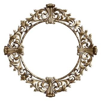 Moldura dourada clássica com decoração ornamento isolada no fundo branco