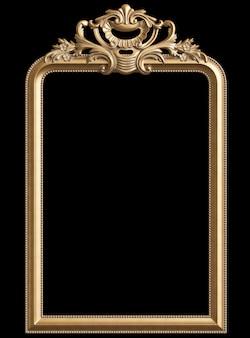 Moldura dourada clássica com decoração ornamento para interior clássico isolado