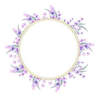 Moldura dourada com flores em aquarela de lavanda