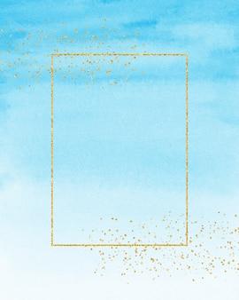 Moldura dourada e fundo azul aquarela