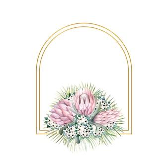 Moldura dourada em forma de arco com flores protea, folhas tropicais, folhas de palmeira, flores bouvardia