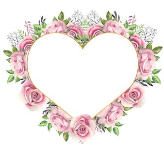 Moldura dourada em forma de coração com flores em aquarela