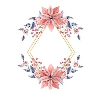 Moldura dourada em forma de diamante com flores em aquarela de bagas da neve e flores de poinsétia