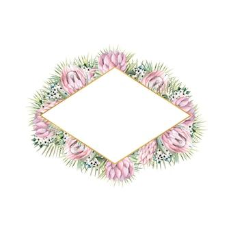 Moldura dourada em forma de diamante com flores protea