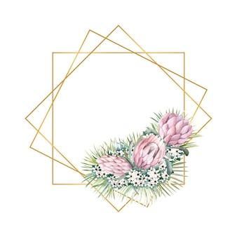 Moldura dourada geométrica com flores de protea, folhas tropicais, folhas de palmeira, flores de bouvardia