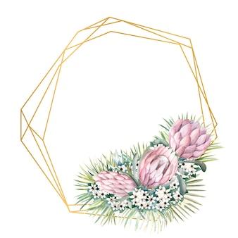 Moldura dourada geométrica com flores protea