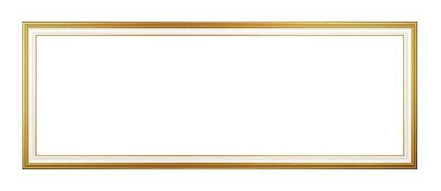 Moldura dourada panorâmica vazia isolada