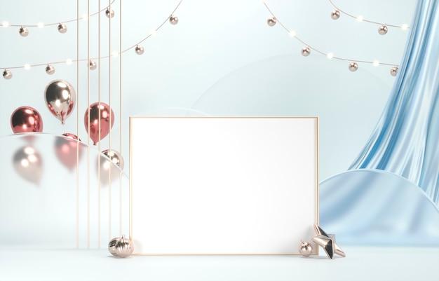Moldura dourada para fotos com espaço em branco, cortinas de seda e balões festivos
