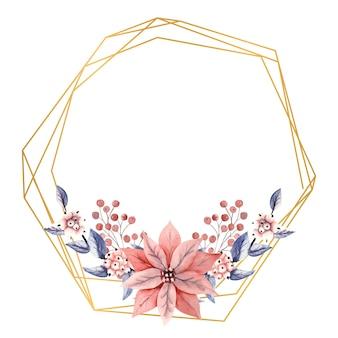 Moldura dourada poligonal com flores em aquarela de bagas da neve e flores de poinsétia