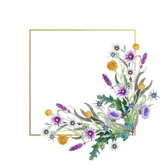 Moldura dourada quadrada com aquarela flores silvestres